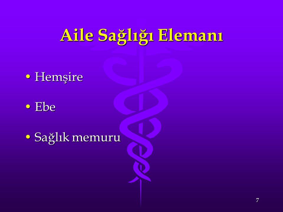 7 Aile Sağlığı Elemanı HemşireHemşire EbeEbe Sağlık memuruSağlık memuru