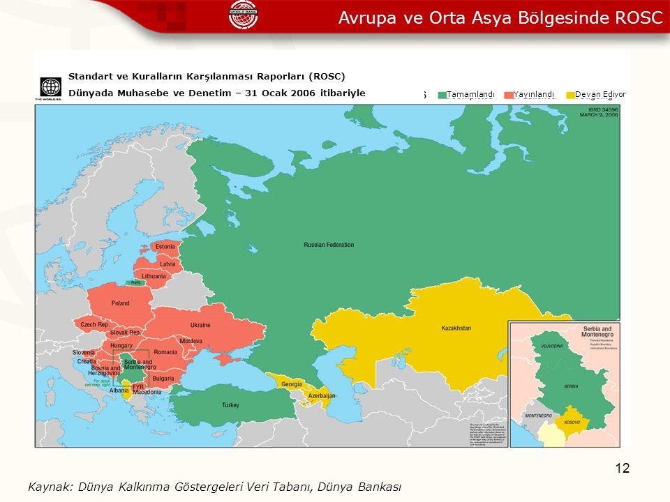 12 Avrupa ve Orta Asya Bölgesinde ROSC Standart ve Kuralların Karşılanması Raporları (ROSC) Dünyada Muhasebe ve Denetim – 31 Ocak 2006 itibariyle Tama
