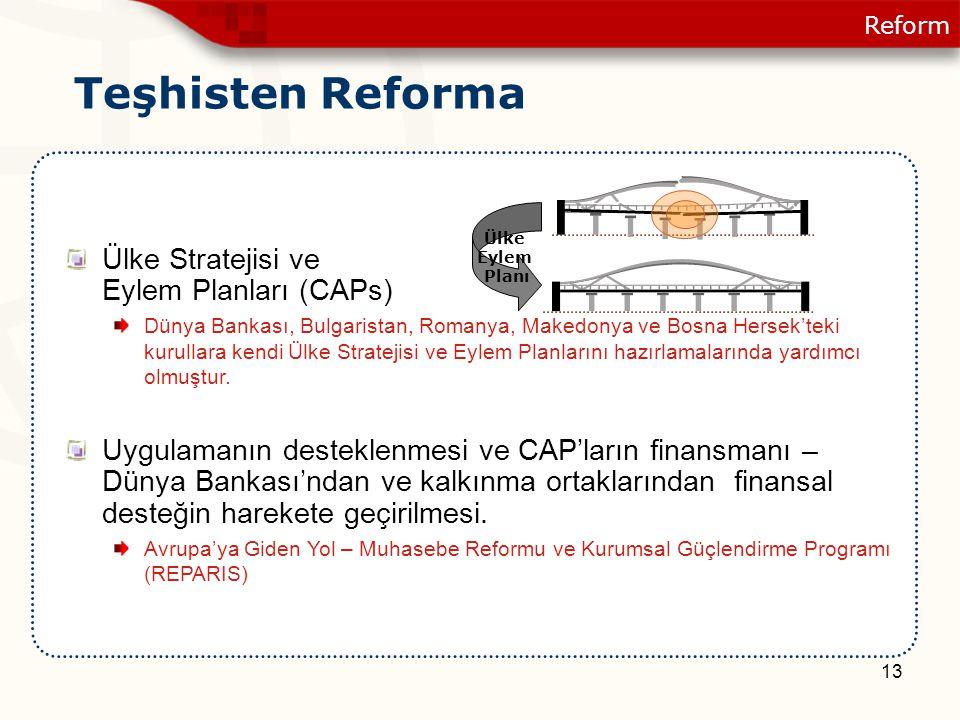 13 Ülke Stratejisi ve Eylem Planları (CAPs) Dünya Bankası, Bulgaristan, Romanya, Makedonya ve Bosna Hersek'teki kurullara kendi Ülke Stratejisi ve Eyl