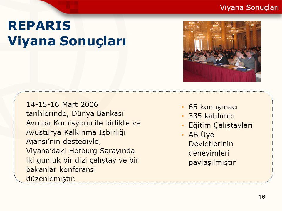16 REPARIS Viyana Sonuçları Viyana Sonuçları 14-15-16 Mart 2006 tarihlerinde, Dünya Bankası Avrupa Komisyonu ile birlikte ve Avusturya Kalkınma İşbirl