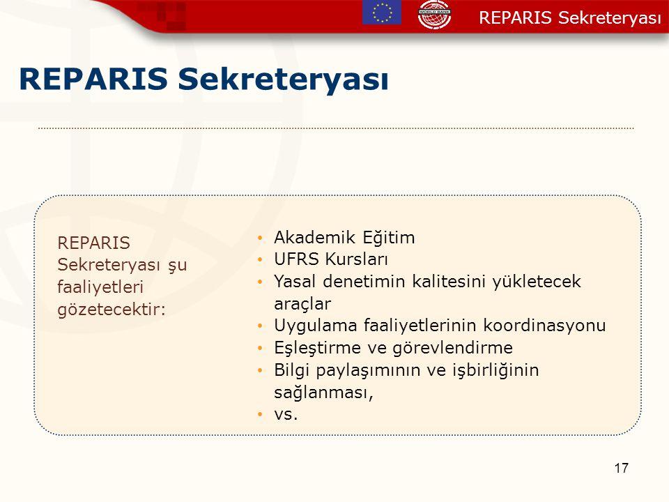 17 REPARIS Sekreteryası REPARIS Sekreteryası şu faaliyetleri gözetecektir: Akademik Eğitim UFRS Kursları Yasal denetimin kalitesini yükletecek araçlar