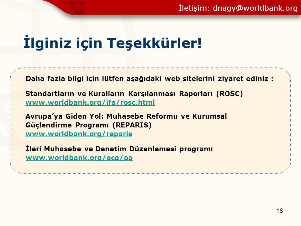 18 İlginiz için Teşekkürler! İleri Muhasebe ve Denetim Düzenlemesi programı www.worldbank.org/eca/aa Avrupa'ya Giden Yol: Muhasebe Reformu ve Kurumsal