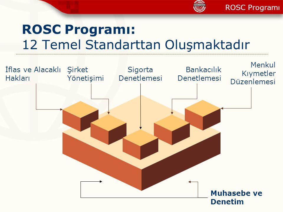 ROSC Programı: 12 Temel Standarttan Oluşmaktadır Menkul Kıymetler Düzenlemesi Bankacılık Denetlemesi Muhasebe ve Denetim Şirket Yönetişimi Sigorta Den