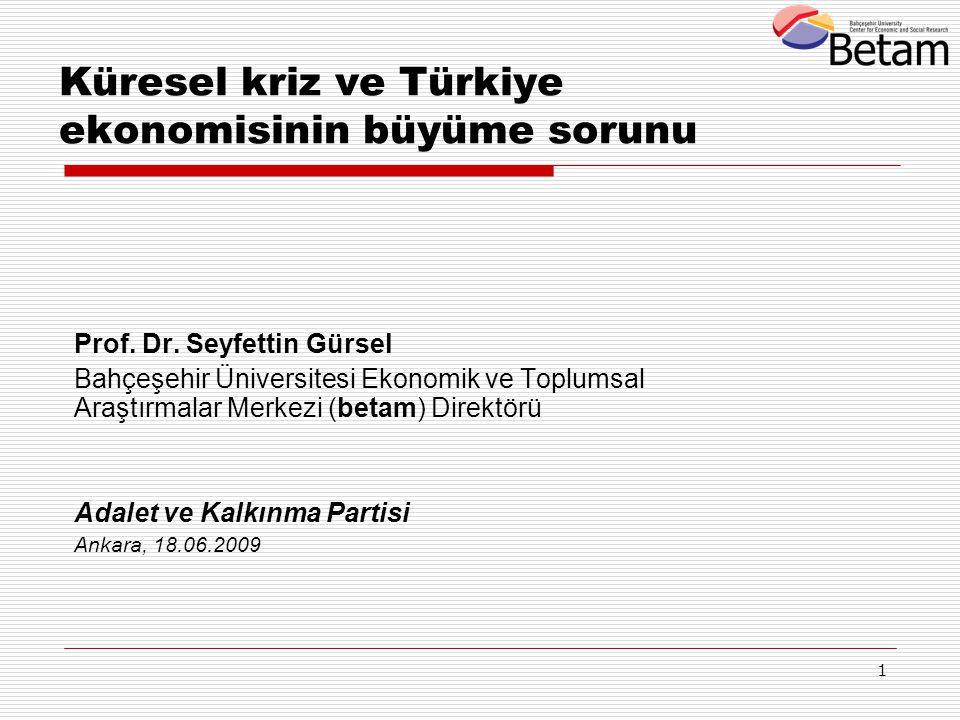 1 Küresel kriz ve Türkiye ekonomisinin büyüme sorunu Prof. Dr. Seyfettin Gürsel Bahçeşehir Üniversitesi Ekonomik ve Toplumsal Araştırmalar Merkezi (be