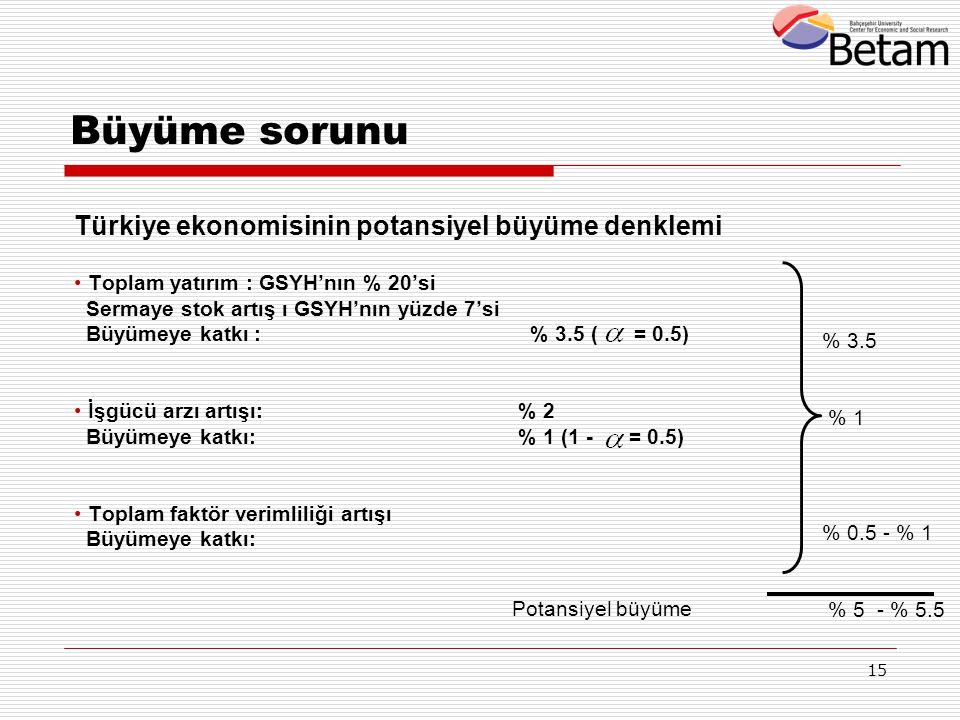 15 Türkiye ekonomisinin potansiyel büyüme denklemi Toplam yatırım : GSYH'nın % 20'si Sermaye stok artış ı GSYH'nın yüzde 7'si Büyümeye katkı : % 3.5 (