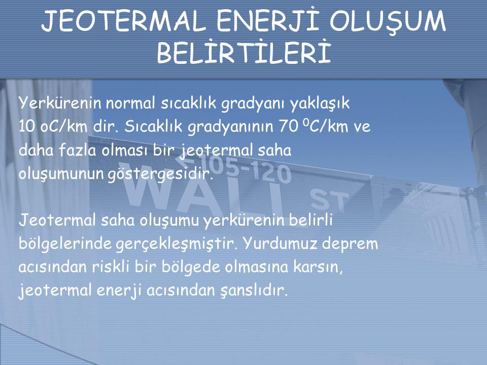 JEOTERMAL ENERJİ OLUŞUM BELİRTİLERİ Yerkürenin normal sıcaklık gradyanı yaklaşık 10 oC/km dir. Sıcaklık gradyanının 70 0 C/km ve daha fazla olması bir