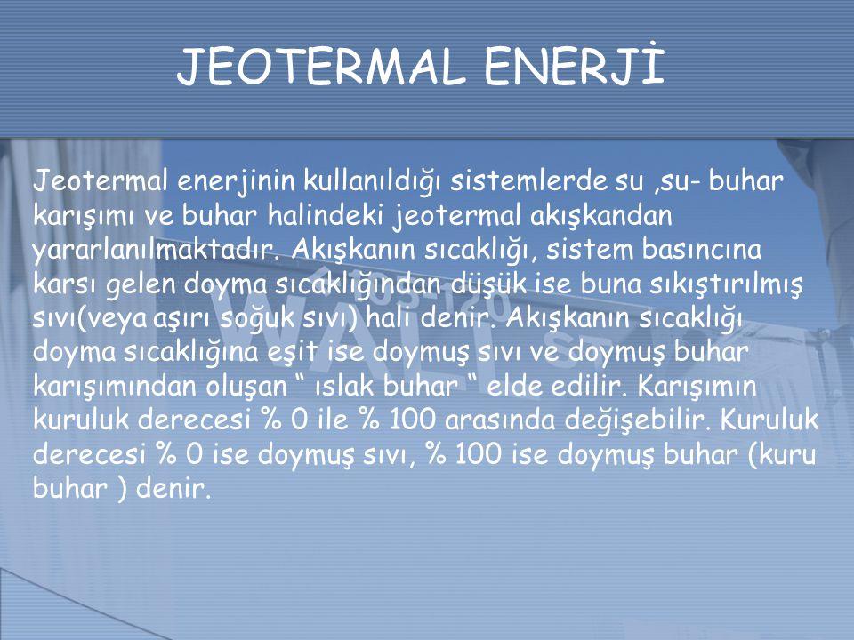 JEOTERMAL ENERJİ Jeotermal enerjinin kullanıldığı sistemlerde su,su- buhar karışımı ve buhar halindeki jeotermal akışkandan yararlanılmaktadır. Akışka