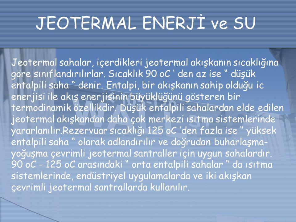 """JEOTERMAL ENERJİ ve SU Jeotermal sahalar, içerdikleri jeotermal akışkanın sıcaklığına göre sınıflandırılırlar. Sıcaklık 90 oC ' den az ise """" düşük ent"""