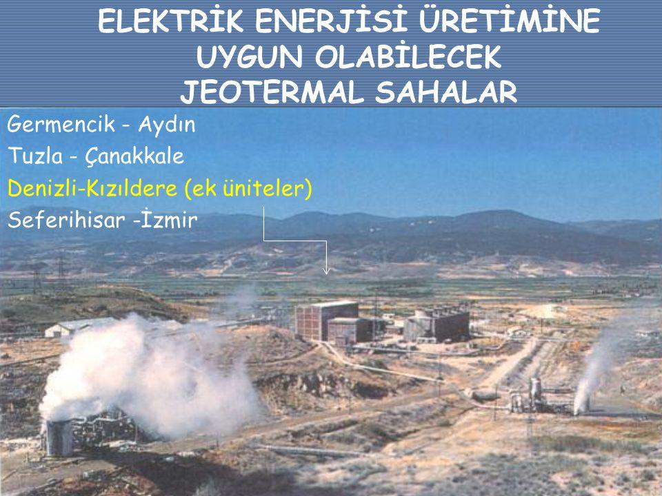 ELEKTRİK ENERJİSİ ÜRETİMİNE UYGUN OLABİLECEK JEOTERMAL SAHALAR Germencik - Aydın Tuzla - Çanakkale Denizli-Kızıldere (ek üniteler) Seferihisar -İzmir