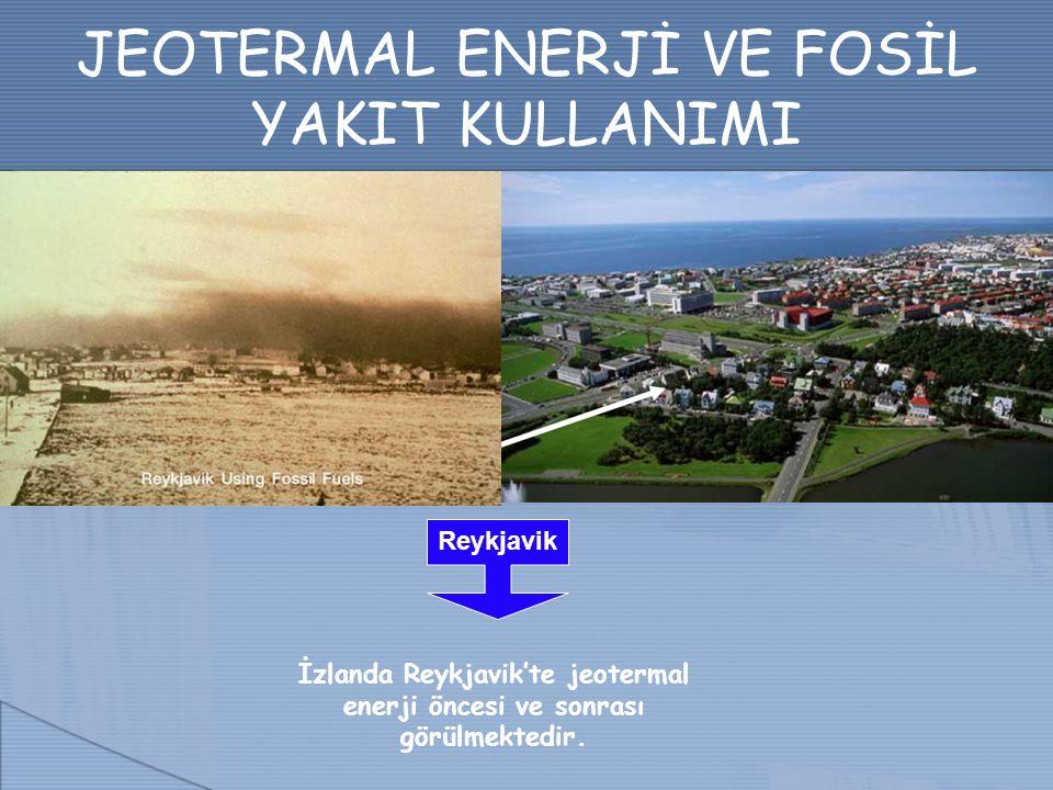 JEOTERMAL ENERJİ VE FOSİL YAKIT KULLANIMI Reykjavik İzlanda Reykjavik'te jeotermal enerji öncesi ve sonrası görülmektedir.