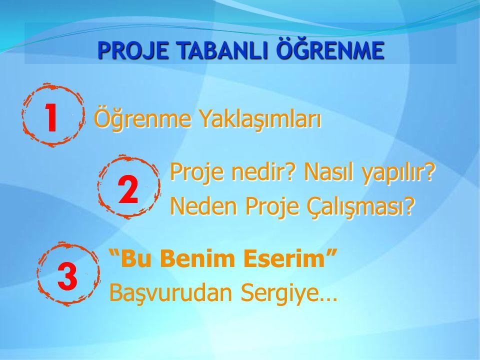 PROJE TABANLI ÖĞRENME 1 Öğrenme Yaklaşımları Proje nedir.