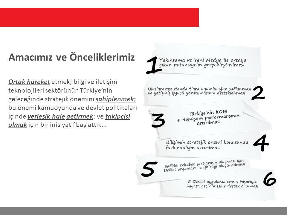 Ortak hareket etmek; bilgi ve iletişim teknolojileri sektörünün Türkiye'nin geleceğinde stratejik önemini sahiplenmek; bu önemi kamuoyunda ve devlet politikaları içinde yerleşik hale getirmek; ve takipçisi olmak için bir inisiyatif başlattık...