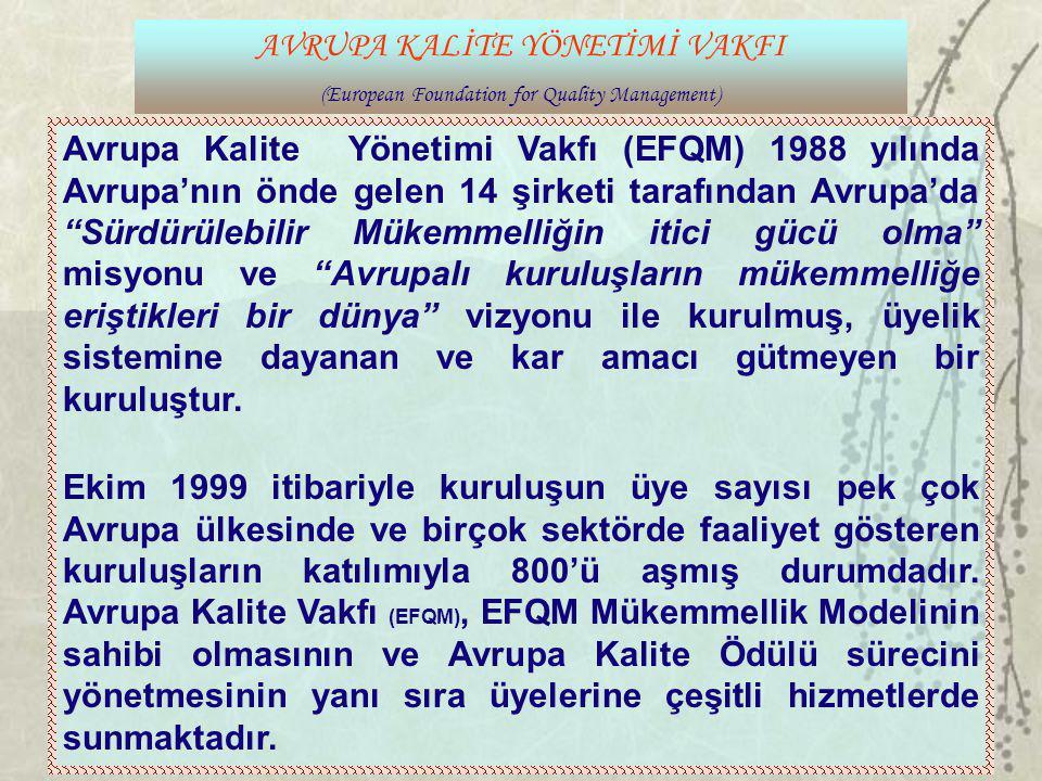 AVRUPA KALİTE YÖNETİMİ VAKFI (European Foundation for Quality Management) Avrupa Kalite Yönetimi Vakfı (EFQM) 1988 yılında Avrupa'nın önde gelen 14 şi