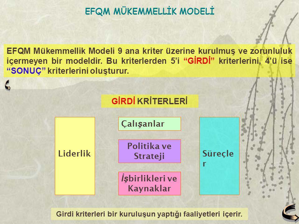 """EFQM Mükemmellik Modeli 9 ana kriter üzerine kurulmuş ve zorunluluk içermeyen bir modeldir. Bu kriterlerden 5'i """"GİRDİ"""" kriterlerini, 4'ü ise """"SONUÇ"""""""