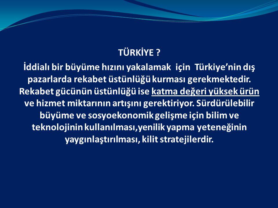 TÜRKİYE ? İddialı bir büyüme hızını yakalamak için Türkiye'nin dış pazarlarda rekabet üstünlüğü kurması gerekmektedir. Rekabet gücünün üstünlüğü ise k