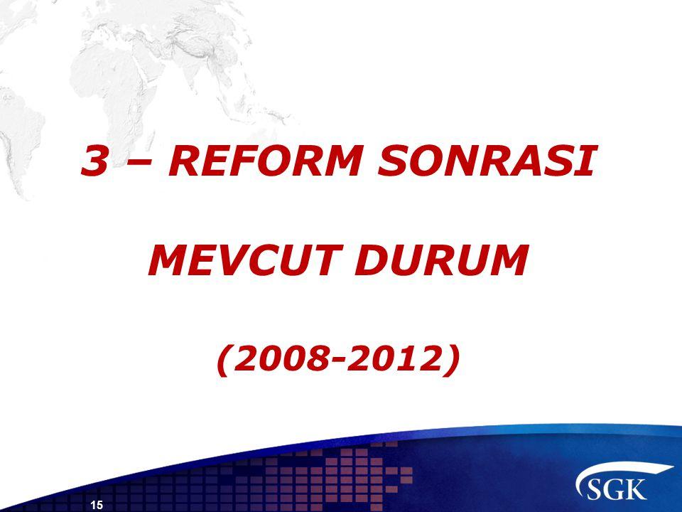 3 – REFORM SONRASI MEVCUT DURUM (2008-2012) 15