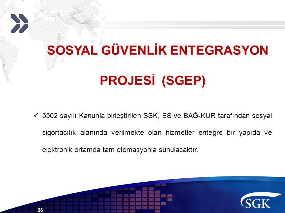 26 SOSYAL GÜVENLİK ENTEGRASYON PROJESİ (SGEP) 5502 sayılı Kanunla birleştirilen SSK, ES ve BAĞ-KUR tarafından sosyal sigortacılık alanında verilmekte olan hizmetler entegre bir yapıda ve elektronik ortamda tam otomasyonla sunulacaktır.