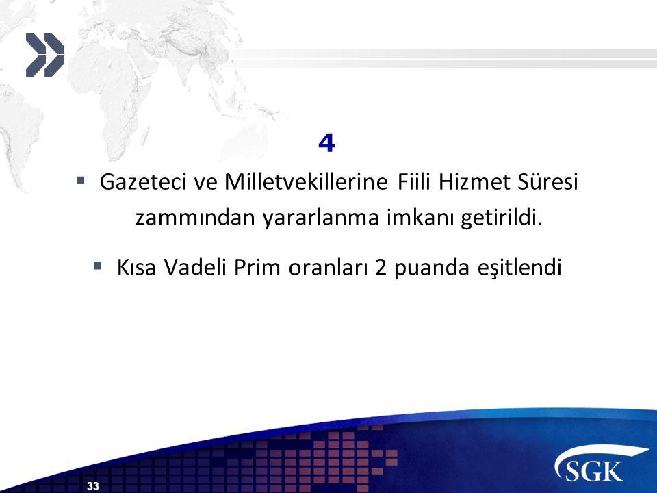 4  Gazeteci ve Milletvekillerine Fiili Hizmet Süresi zammından yararlanma imkanı getirildi.