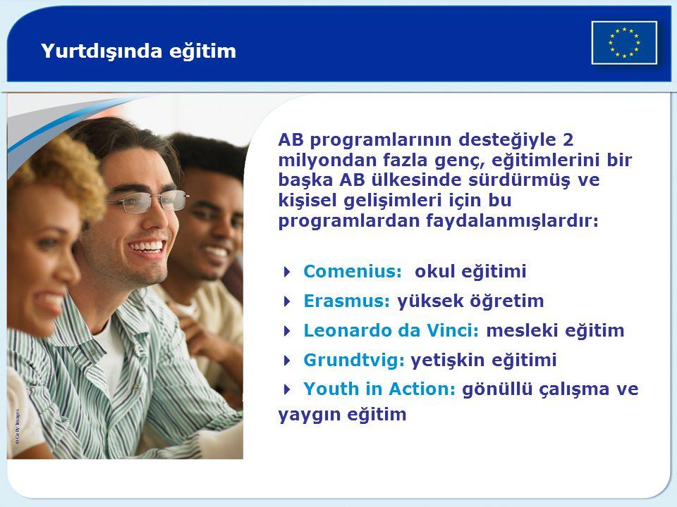 Yurtdışında eğitim AB programlarının desteğiyle 2 milyondan fazla genç, eğitimlerini bir başka AB ülkesinde sürdürmüş ve kişisel gelişimleri için bu p