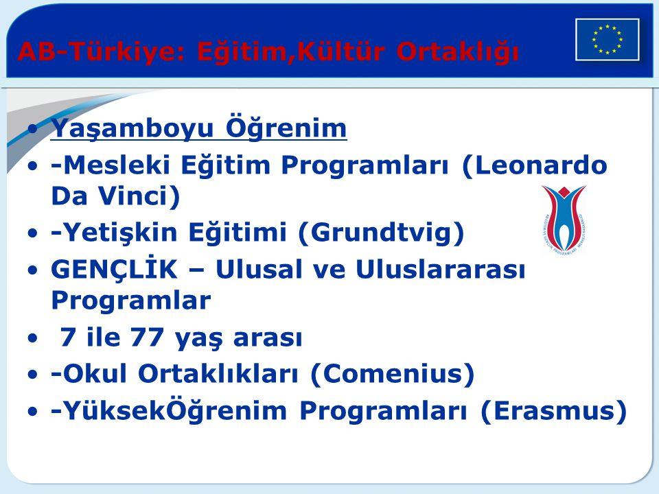 AB-Türkiye: Eğitim,Kültür Ortaklığı Yaşamboyu Öğrenim -Mesleki Eğitim Programları (Leonardo Da Vinci) -Yetişkin Eğitimi (Grundtvig) GENÇLİK – Ulusal v