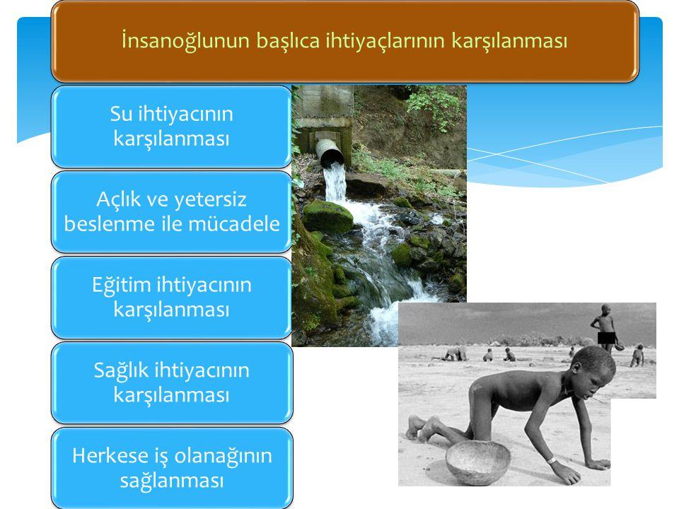 İnsanoğlunun başlıca ihtiyaçlarının karşılanması Su ihtiyacının karşılanması Açlık ve yetersiz beslenme ile mücadele Eğitim ihtiyacının karşılanması S