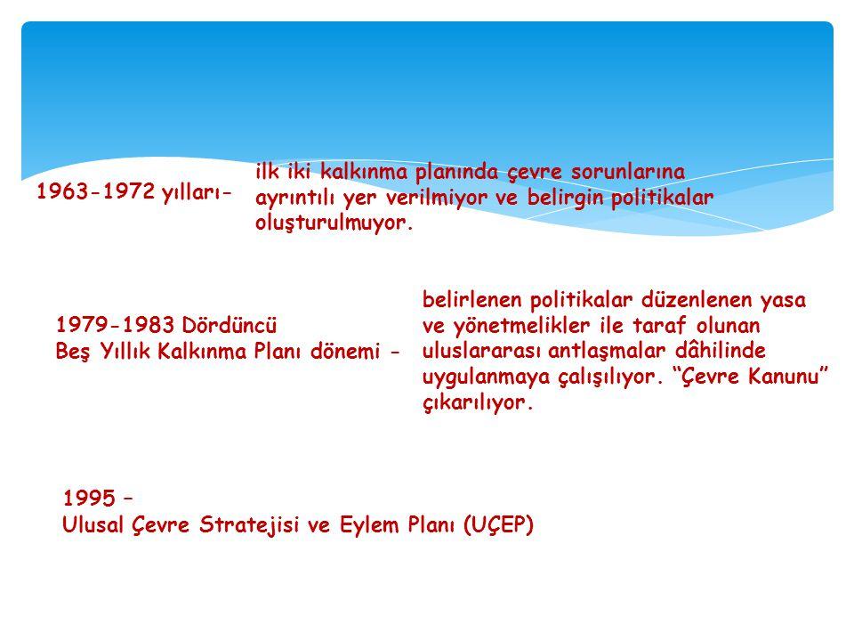 1963-1972 yılları- ilk iki kalkınma planında çevre sorunlarına ayrıntılı yer verilmiyor ve belirgin politikalar oluşturulmuyor. 1979-1983 Dördüncü Beş