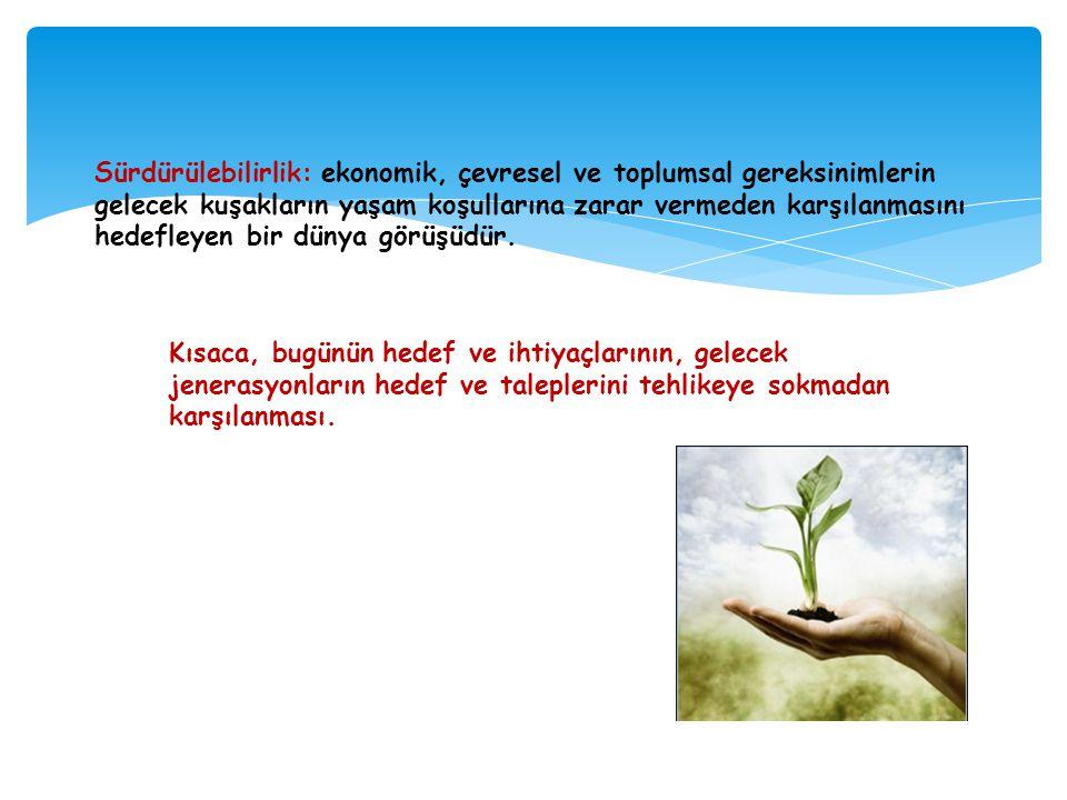 Sürdürülebilirlik: ekonomik, çevresel ve toplumsal gereksinimlerin gelecek kuşakların yaşam koşullarına zarar vermeden karşılanmasını hedefleyen bir d