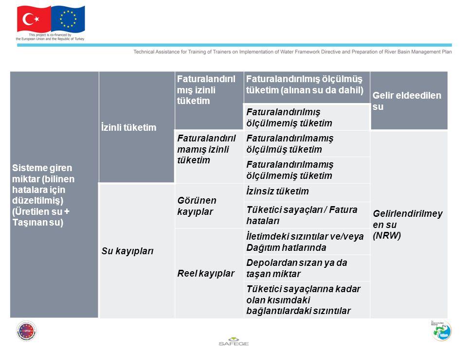 Sisteme giren miktar (bilinen hatalara için düzeltilmiş) (Üretilen su + Taşınan su) İzinli tüketim Faturalandırıl mış izinli tüketim Faturalandırılmış ölçülmüş tüketim (alınan su da dahil) Gelir eldeedilen su Faturalandırılmış ölçülmemiş tüketim Faturalandırıl mamış izinli tüketim Faturalandırılmamış ölçülmüş tüketim Gelirlendirilmey en su (NRW) Faturalandırılmamış ölçülmemiş tüketim Su kayıpları Görünen kayıplar İzinsiz tüketim Tüketici sayaçları / Fatura hataları Reel kayıplar İletimdeki sızıntılar ve/veya Dağıtım hatlarında Depolardan sızan ya da taşan miktar Tüketici sayaçlarına kadar olan kısımdaki bağlantılardaki sızıntılar