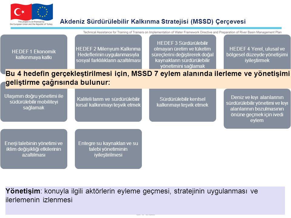 Akdeniz Sürdürülebilir Kalkınma Stratejisi (MSSD) Çerçevesi HEDEF 1 Ekonomik kalkınmaya katkı HEDEF 2 Milenyum Kalkınma Hedeflerinin uygulanmasıyla sosyal farklılıkların azaltılması HEDEF 3 Sürdürülebilir olmayan üretim ve tüketim süreçlerini değiştirerek doğal kaynakların sürdürülebilir yönetimini sağlamak HEDEF 4 Yerel, ulusal ve bölgesel düzeyde yönetişimi iyileştirmek Deniz ve kıyı alanlarının sürdürülebilir yönetimi ve kıyı alanlarının bozulmasının önüne geçmek için ivedi eylem Sürdürülebilir kentsel kalkınmayı teşvik etmek Kaliteli tarım ve sürdürülebilir kırsal kalkınmayı teşvik etmek Ulaşımın doğru yönetimi ile südürülebilir mobiliteyi sağlamak Enerji talebinin yönetimi ve iklim değişikliği etkilerinin azaltılması Entegre su kaynakları ve su talebi yönetiminin iyileştirilmesi Bu 4 hedefin gerçekleştirilmesi için, MSSD 7 eylem alanında ilerleme ve yönetişimi geliştirme çağrısında bulunur: Yönetişim: konuyla ilgili aktörlerin eyleme geçmesi, stratejinin uygulanması ve ilerlemenin izlenmesi