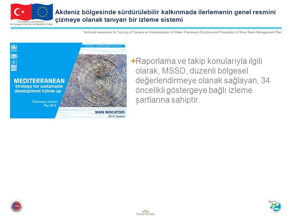 Akdeniz bölgesinde sürdürülebilir kalkınmada ilerlemenin genel resmini çizmeye olanak tanıyan bir izleme sistemi  Raporlama ve takip konularıyla ilgili olarak, MSSD, düzenli bölgesel değerlendirmeye olanak sağlayan, 34 öncelikli göstergeye bağlı izleme şartlarına sahiptir.