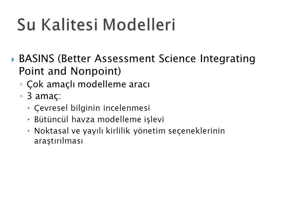  BASINS (Better Assessment Science Integrating Point and Nonpoint) ◦ Çok amaçlı modelleme aracı ◦ 3 amaç:  Çevresel bilginin incelenmesi  Bütüncül