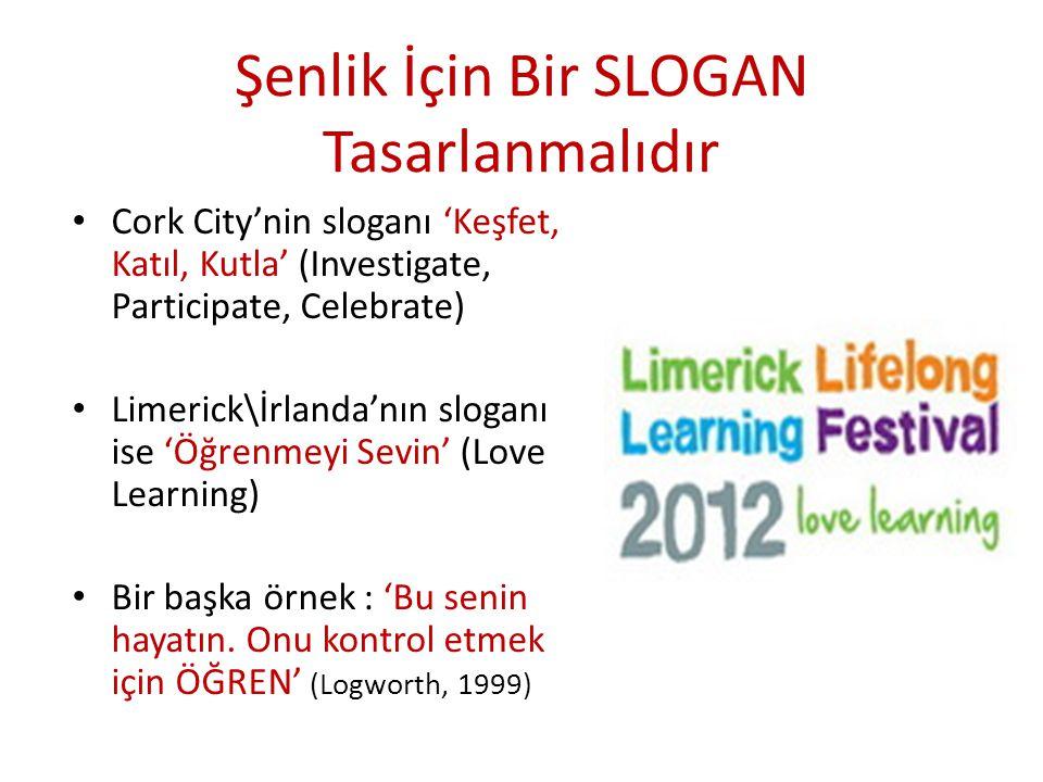Şenlik İçin Bir SLOGAN Tasarlanmalıdır Cork City'nin sloganı 'Keşfet, Katıl, Kutla' (Investigate, Participate, Celebrate) Limerick\İrlanda'nın sloganı