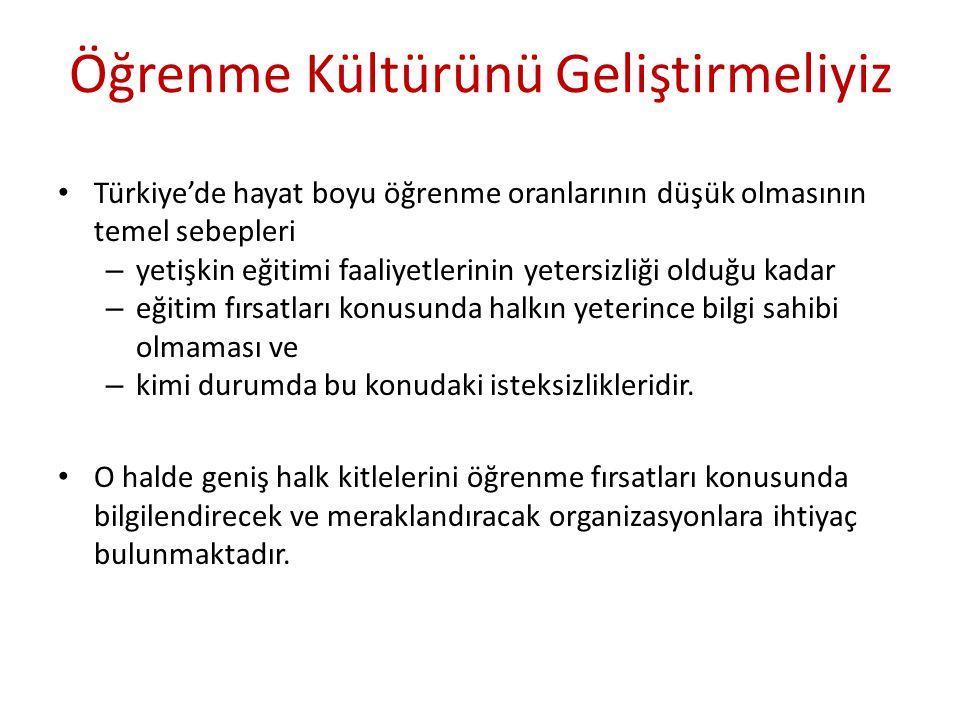 Öğrenme Kültürünü Geliştirmeliyiz Türkiye'de hayat boyu öğrenme oranlarının düşük olmasının temel sebepleri – yetişkin eğitimi faaliyetlerinin yetersi