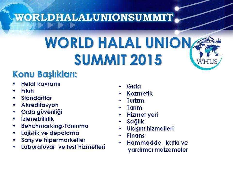 Konu Başlıkları: Helal kavramı Fıkıh Standartlar Akreditasyon Gıda güvenliği İzlenebilirlik Benchmarking-Tanınma Lojistik ve depolama Satış ve hipermarketler Laboratuvar ve test hizmetleri Gıda Kozmetik Turizm Tarım Hizmet yeri Sağlık Ulaşım hizmetleri Finans Hammadde, katkı ve yardımcı malzemeler WORLD HALAL UNION SUMMIT 2015