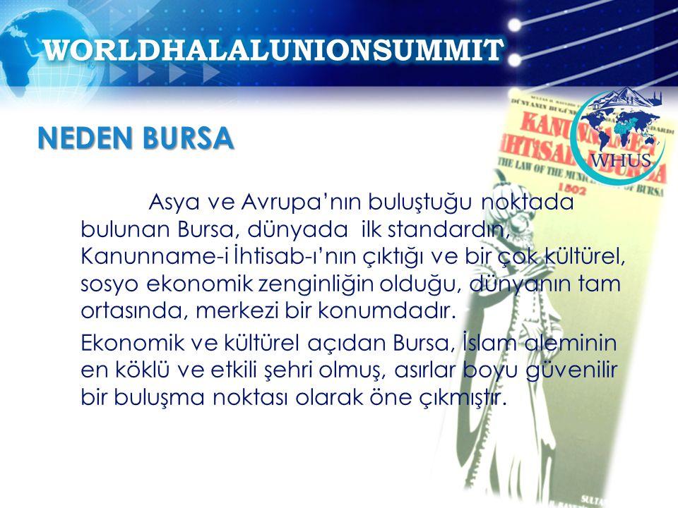 Asya ve Avrupa'nın buluştuğu noktada bulunan Bursa, dünyada ilk standardın, Kanunname-i İhtisab-ı'nın çıktığı ve bir çok kültürel, sosyo ekonomik zenginliğin olduğu, dünyanın tam ortasında, merkezi bir konumdadır.