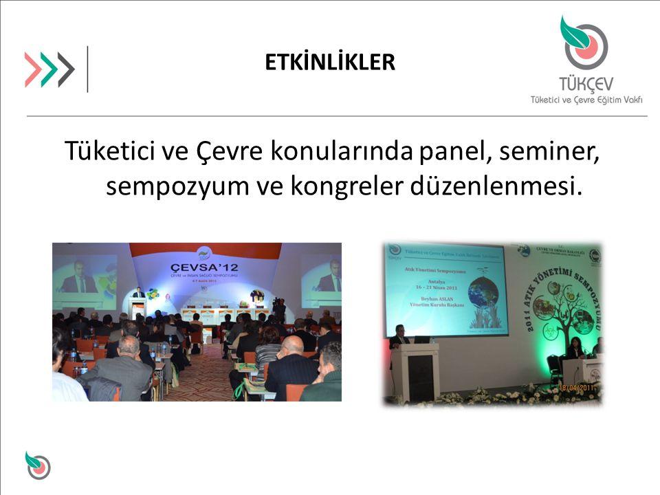 Tüketici ve Çevre konularında panel, seminer, sempozyum ve kongreler düzenlenmesi. ETKİNLİKLER