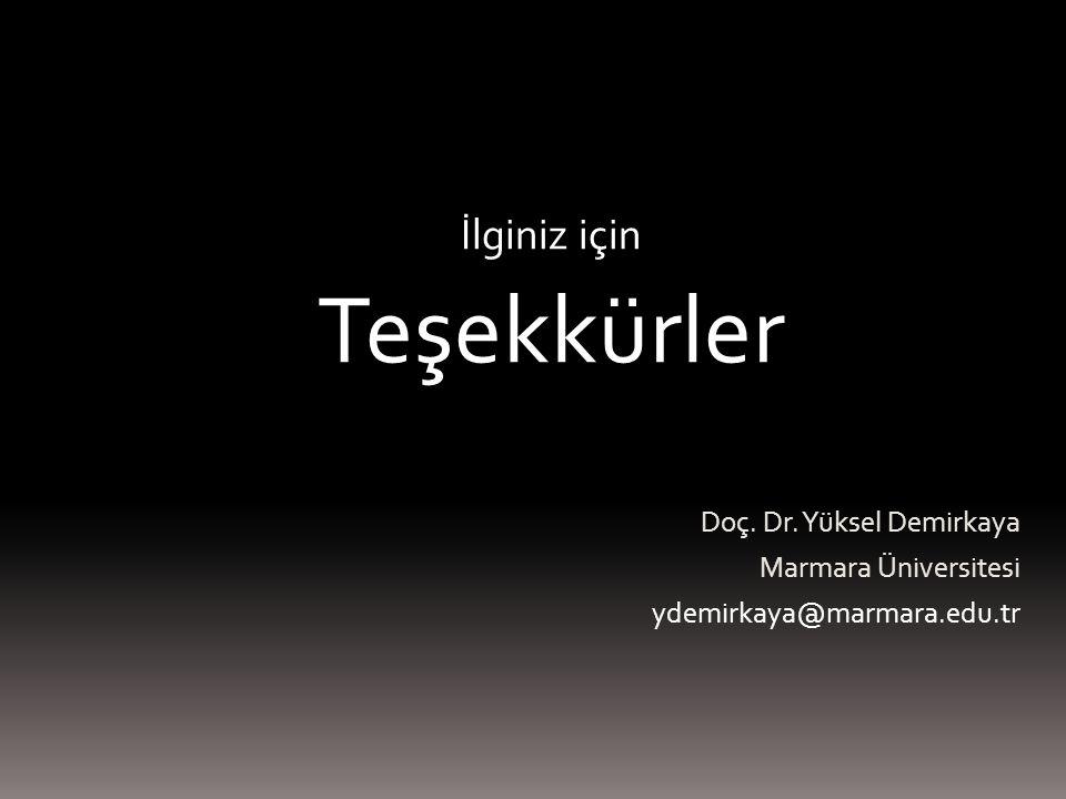 İlginiz için Teşekkürler Doç. Dr. Yüksel Demirkaya Marmara Üniversitesi ydemirkaya@marmara.edu.tr