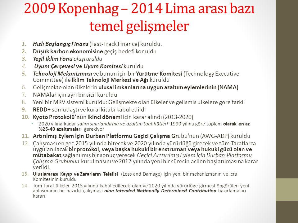 2009 Kopenhag – 2014 Lima arası bazı temel gelişmeler 1.Hızlı Başlangıç Finans (Fast-Track Finance) kuruldu. 2.Düşük karbon ekonomisine geçiş hedefi k