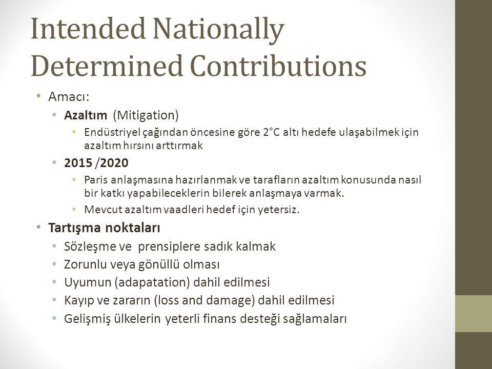 Intended Nationally Determined Contributions Amacı: Azaltım (Mitigation) Endüstriyel çağından öncesine göre 2°C altı hedefe ulaşabilmek için azaltım h