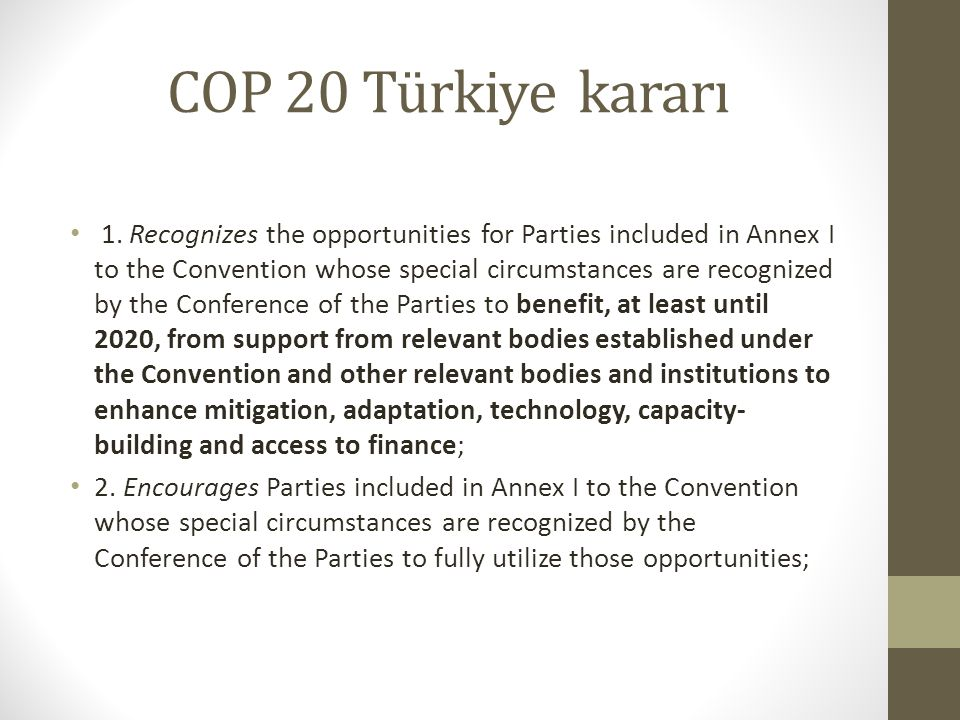 COP 20 Türkiye kararı 1. Recognizes the opportunities for Parties included in Annex I to the Convention whose special circumstances are recognized by