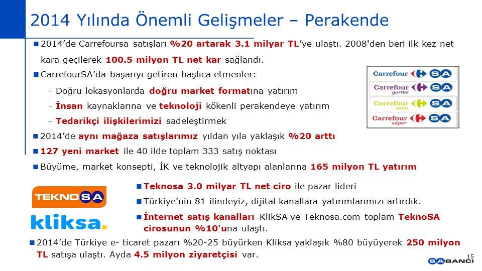 2014 Yılında Önemli Gelişmeler – Perakende 15 Teknosa 3.0 milyar TL net ciro ile pazar lideri Türkiye'nin 81 ilindeyiz, dijital kanallara yatırımlarım