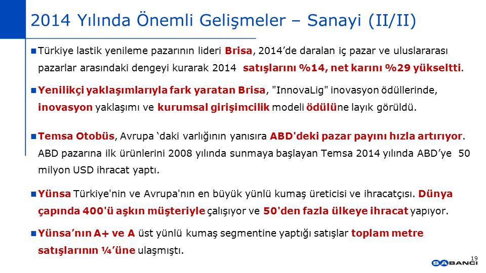2014 Yılında Önemli Gelişmeler – Sanayi (II/II) 19 Türkiye lastik yenileme pazarının lideri Brisa, 2014'de daralan iç pazar ve uluslararası pazarlar a