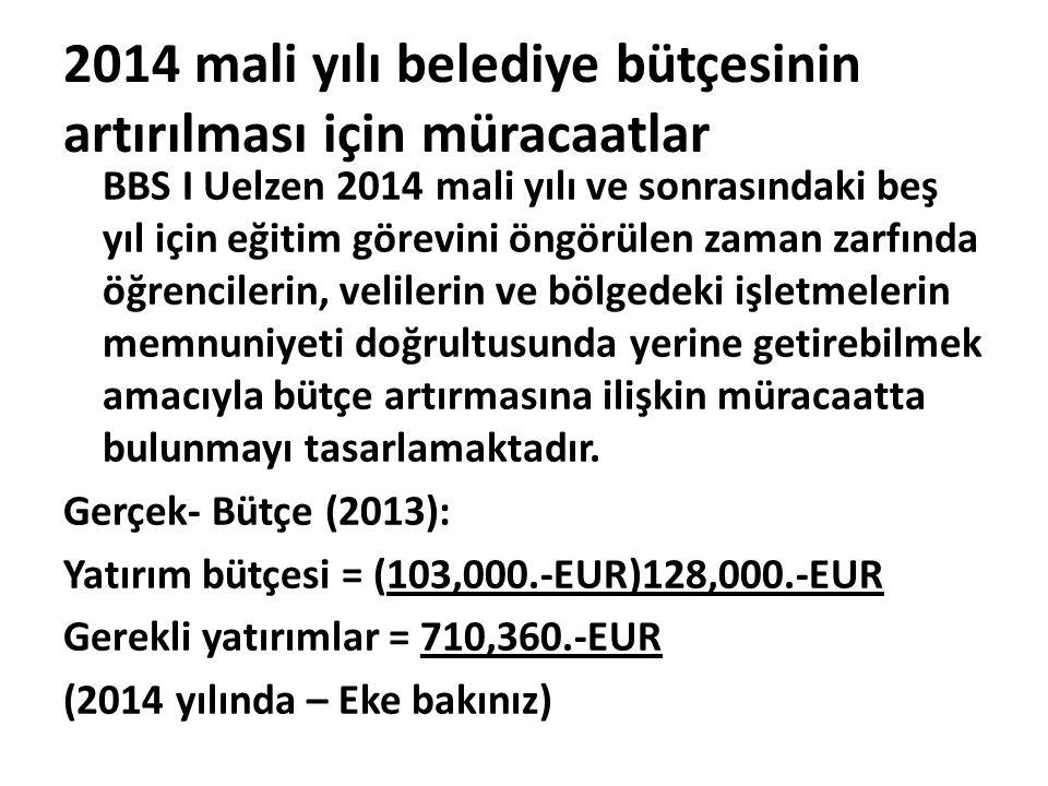2014 mali yılı belediye bütçesinin artırılması için müracaatlar BBS I Uelzen 2014 mali yılı ve sonrasındaki beş yıl için eğitim görevini öngörülen zam