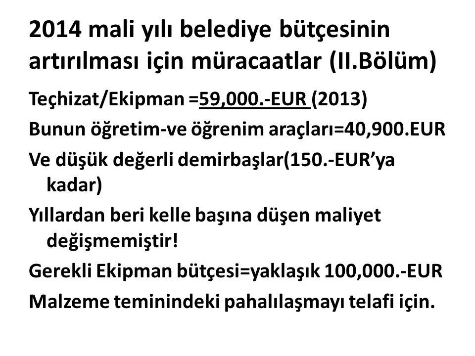 2014 mali yılı belediye bütçesinin artırılması için müracaatlar (II.Bölüm) Teçhizat/Ekipman =59,000.-EUR (2013) Bunun öğretim-ve öğrenim araçları=40,9