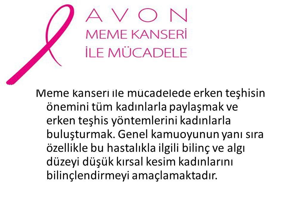 Meme kanseri ile mücadelede erken teşhisin önemini tüm kadınlarla paylaşmak ve erken teşhis yöntemlerini kadınlarla buluşturmak. Genel kamuoyunun yanı