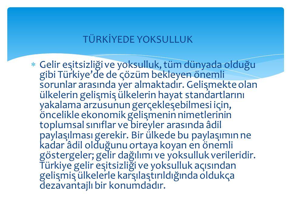 TÜRKİYEDE YOKSULLUK  Gelir eşitsizliği ve yoksulluk, tüm dünyada olduğu gibi Türkiye'de de çözüm bekleyen önemli sorunlar arasında yer alma
