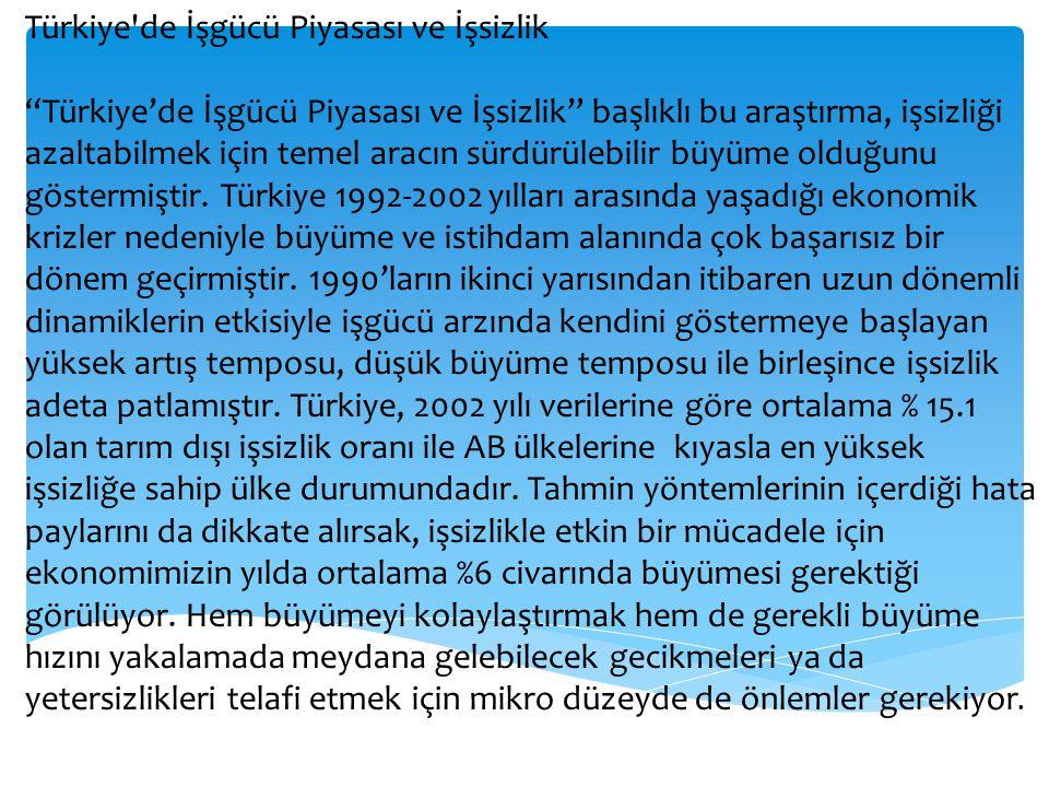 """Türkiye'de İşgücü Piyasası ve İşsizlik """"Türkiye'de İşgücü Piyasası ve İşsizlik"""" başlıklı bu araştırma, işsizliği azaltabilmek için temel aracın sürdür"""