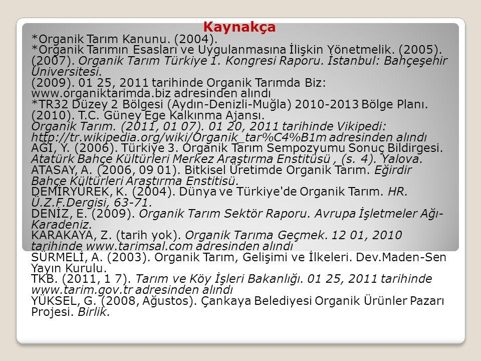 Kaynakça *Organik Tarım Kanunu. (2004). *Organik Tarımın Esasları ve Uygulanmasına İlişkin Yönetmelik. (2005). (2007). Organik Tarım Türkiye 1. Kongre