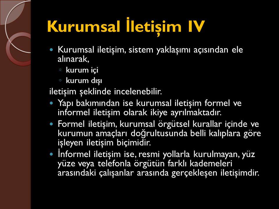 Kurumsal İ letişim IV Kurumsal iletişim, sistem yaklaşımı açısından ele alınarak, ◦ kurum içi ◦ kurum dışı iletişim şeklinde incelenebilir. Yapı bakım