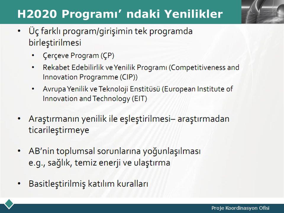 LOGO H2020 Programı' ndaki Yenilikler Proje Koordinasyon Ofisi